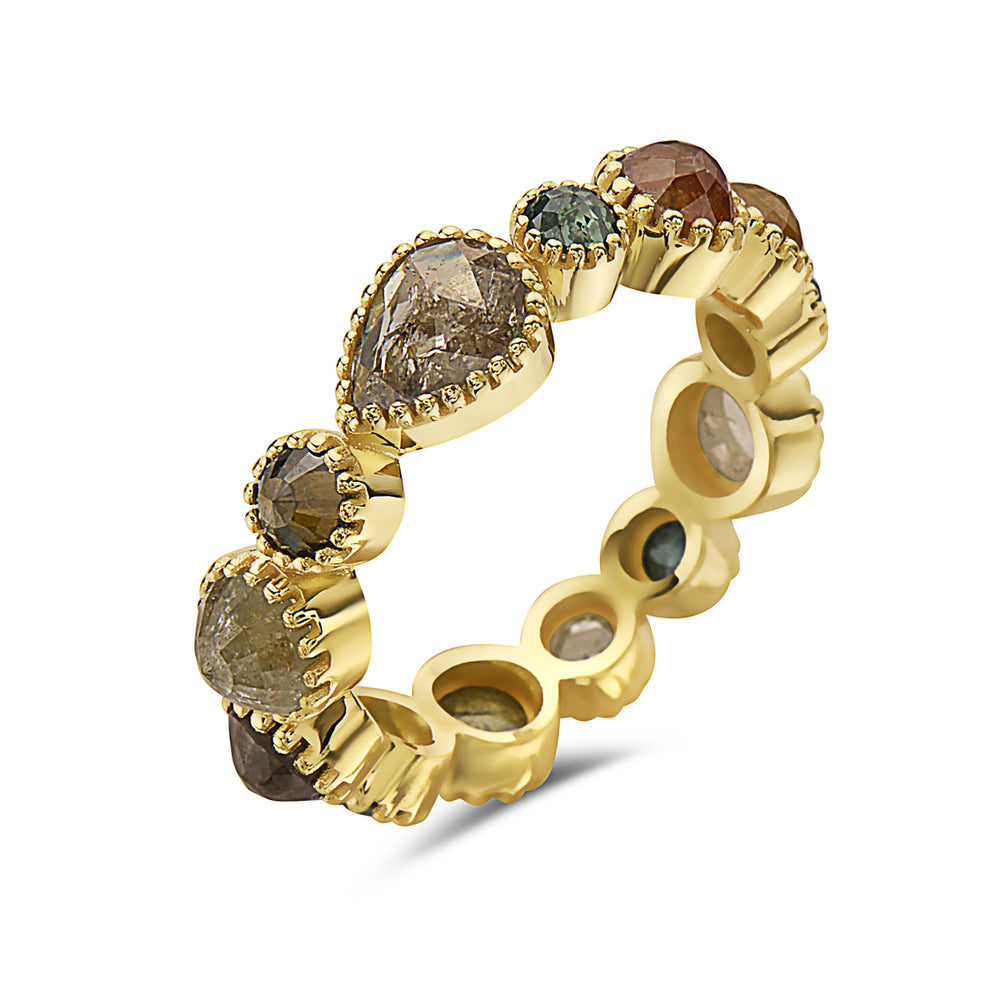 14kt yellow gold and natural diamond eternity band