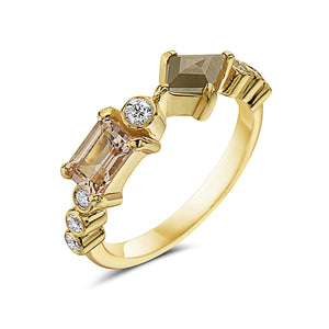 14kt yellow gold, diamond and morganite ring