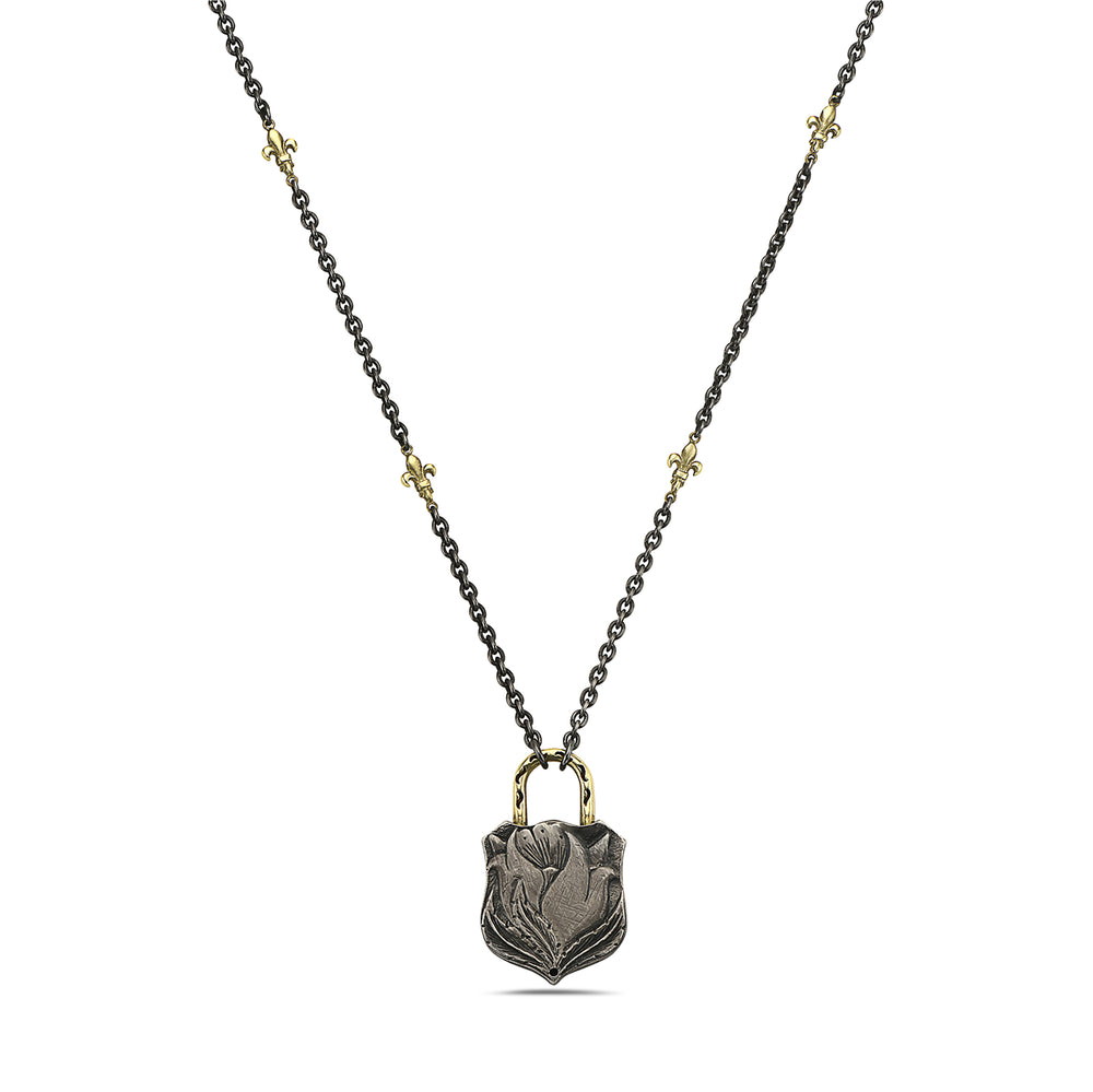 "Load image into Gallery viewer, 14kt yellow gold/silver and diamond ""lock"" necklace"