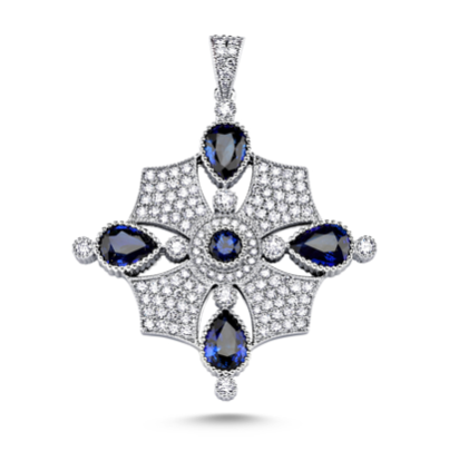 14kt white gold diamond and blue sapphire pendant
