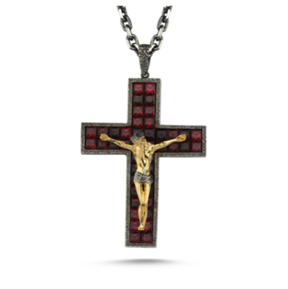 14kt yellow gold, silver and garnet crucifix pendant