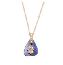 Load image into Gallery viewer, 18kt pink gold diamond hamsa and opal pendant