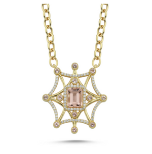 14kt yellow gold diamond and morganite necklace