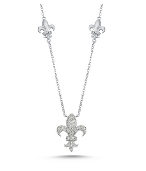 Load image into Gallery viewer, 14kt white gold and diamond fleur de lis necklace