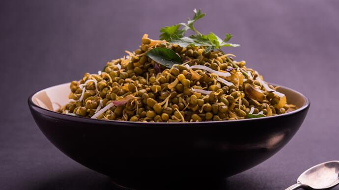 Green Moong Sprout Stir-Fry