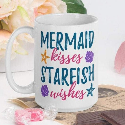 Mermaid Kisses - White Glossy Mug - Ceramic Mug - Coffee Mug - Coffee Cup - Tea Mug