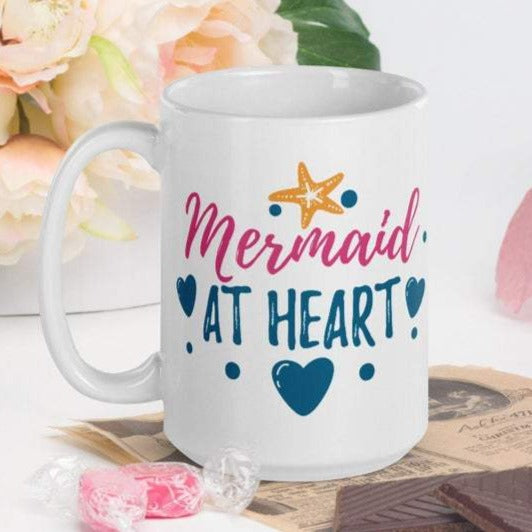 Mermaid At Heart - White Glossy Mug - Ceramic Mug - Coffee Mug - Coffee Cup - Tea Mug