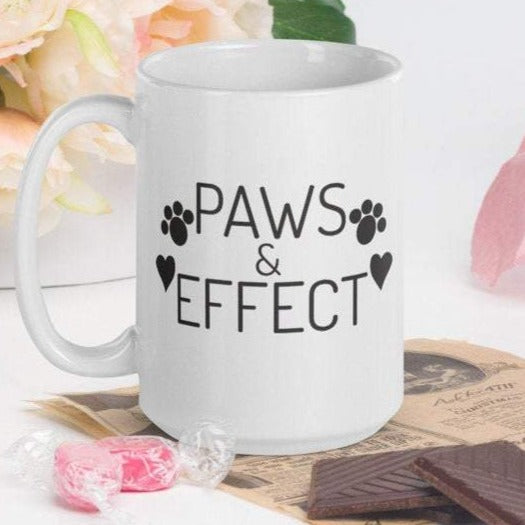 Paws & Effect - White Glossy Mug - Ceramic Mug - Coffee Mug - Handmade Mug - Cat & Dog Gifts