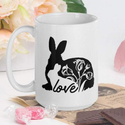 Love Bunnies - White Glossy Mug - Ceramic Mug - Coffee Mug - Handmade Mug - Mother's Day
