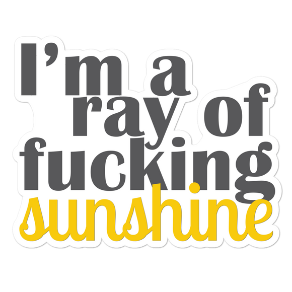 I'm A Ray Of Fucking Sunshine - Vinyl Sticker - No Bubble - Multiple Sizes