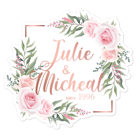 Custom Sticker (Roses Square) - Vinyl Sticker - No Bubbles - Multiple Sizes - Vinyl Decal