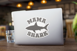 Mama Shark - Vinyl Sticker - No Bubbles - Multiple Sizes - Vinyl Decal - Laptop Sticker