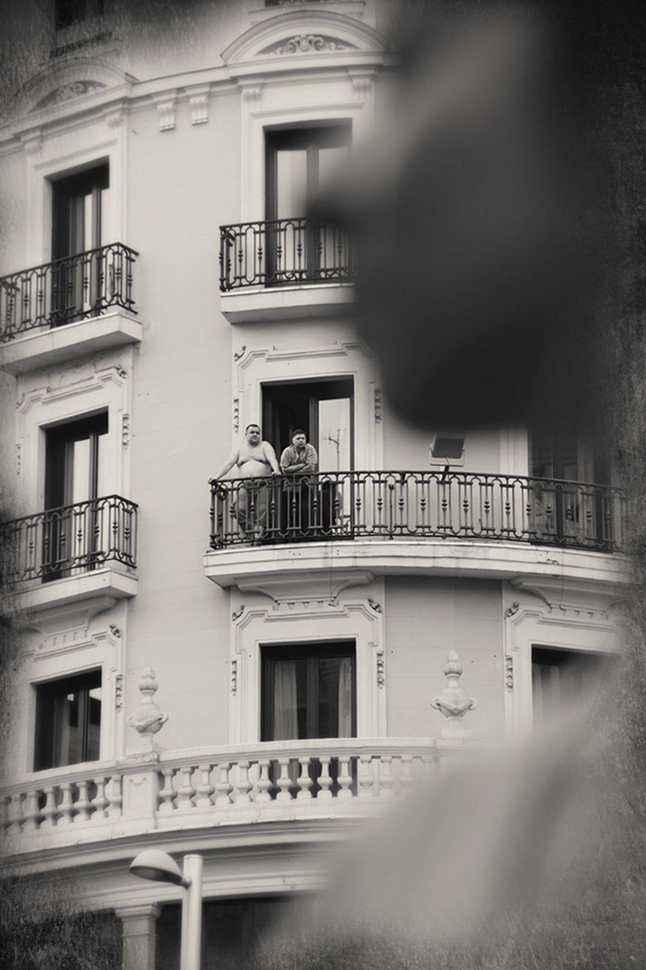 Balconies during lockdown, Madrid, Spain, Sepia Photographs