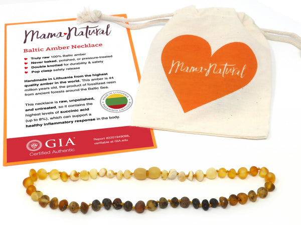 Mama Natural amber teething necklace with pouch