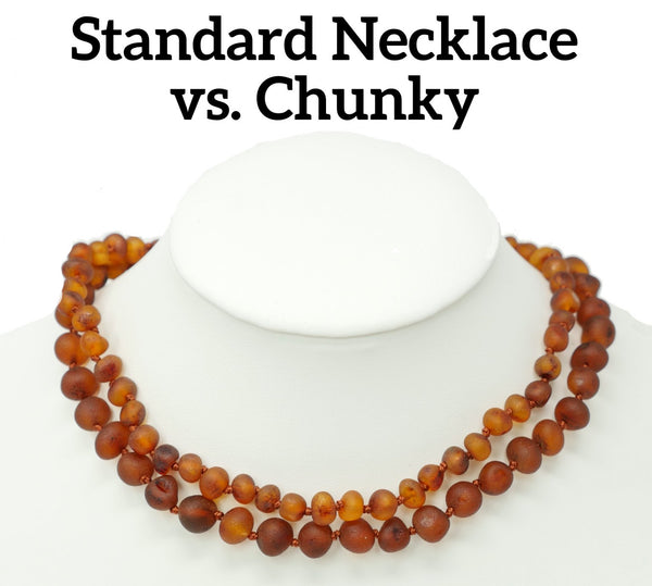 Mama Natural chunky vs standard amber teething necklace comparison