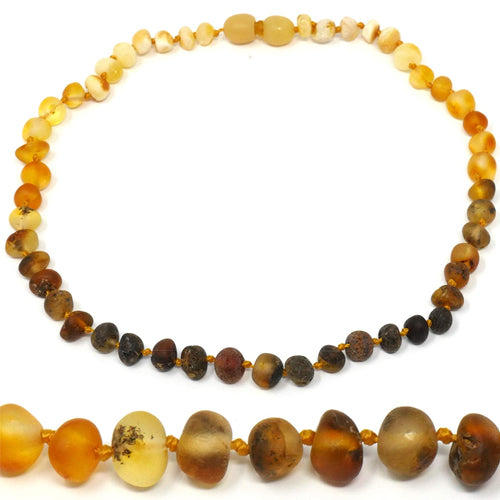 "Amber Teething Necklace - 12.5"" - TRULY Raw 100% Baltic Amber"