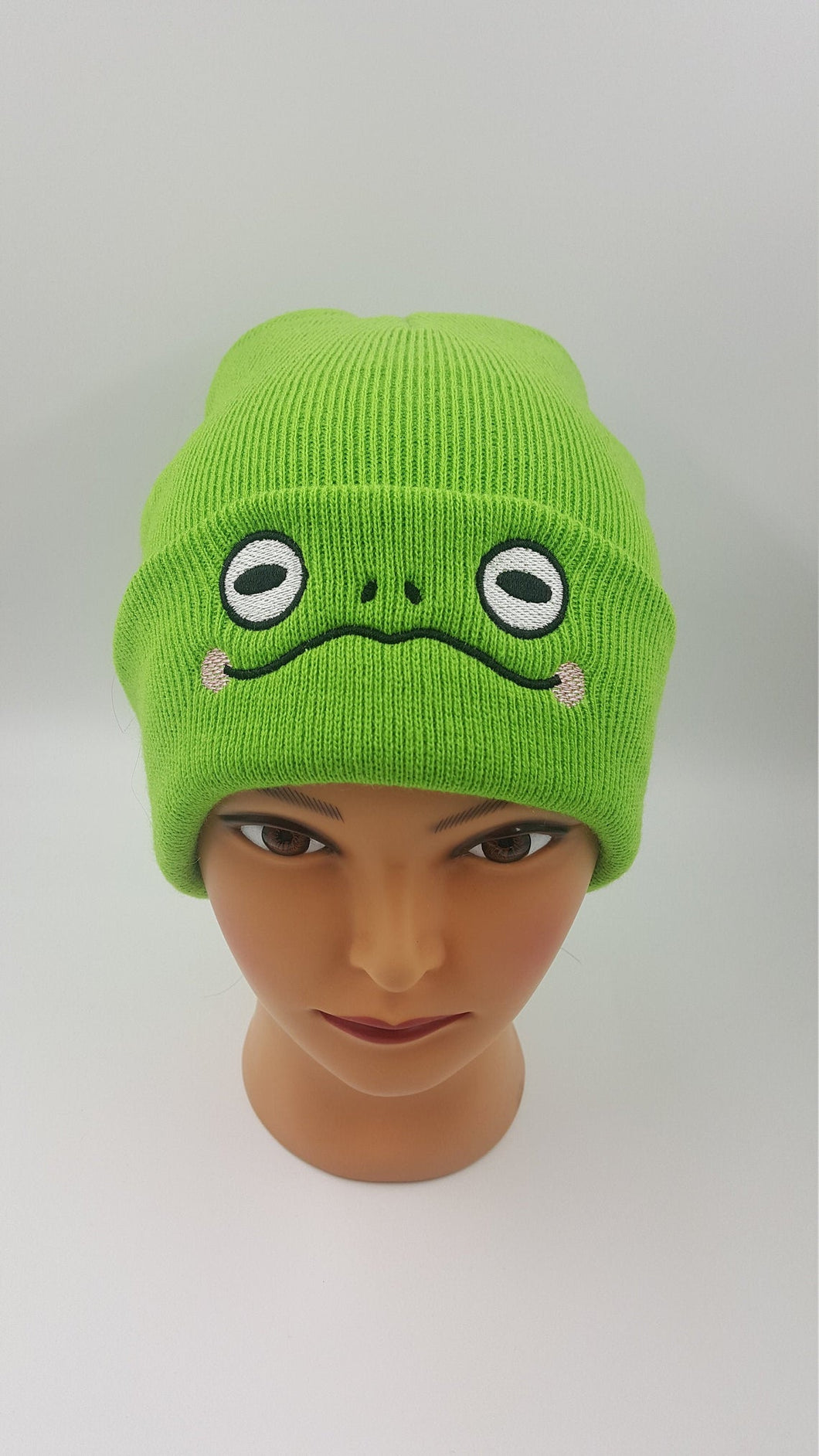 Green Frog Beanie, Kawaii Fashion, Swamp Cute Hat, Cottage Core Knitted Cap Warm and Comfortable Wizard Skull Cap Perfect Gift for Bog Witch