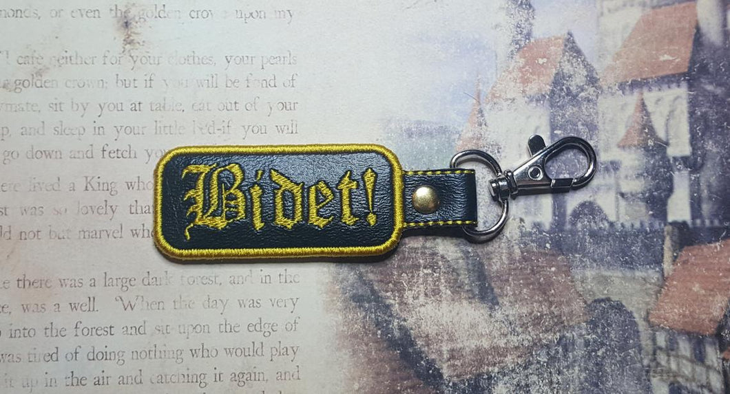 Embroidered Bidet Key Fob, DnD Keychain, Dungeons and Dragons Bag Clip, Magic Item Accessory, Perfect Gift for Witch or Wizard