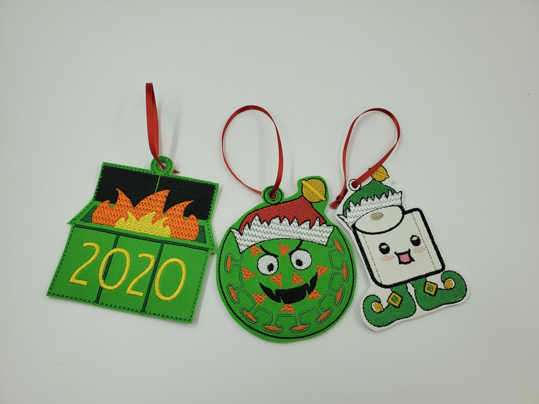3 Pack 2020 Vinyl Ornaments, Funny Christmas Tree Decoration, Silly Holiday Decor, Perfect Gift for Christmas