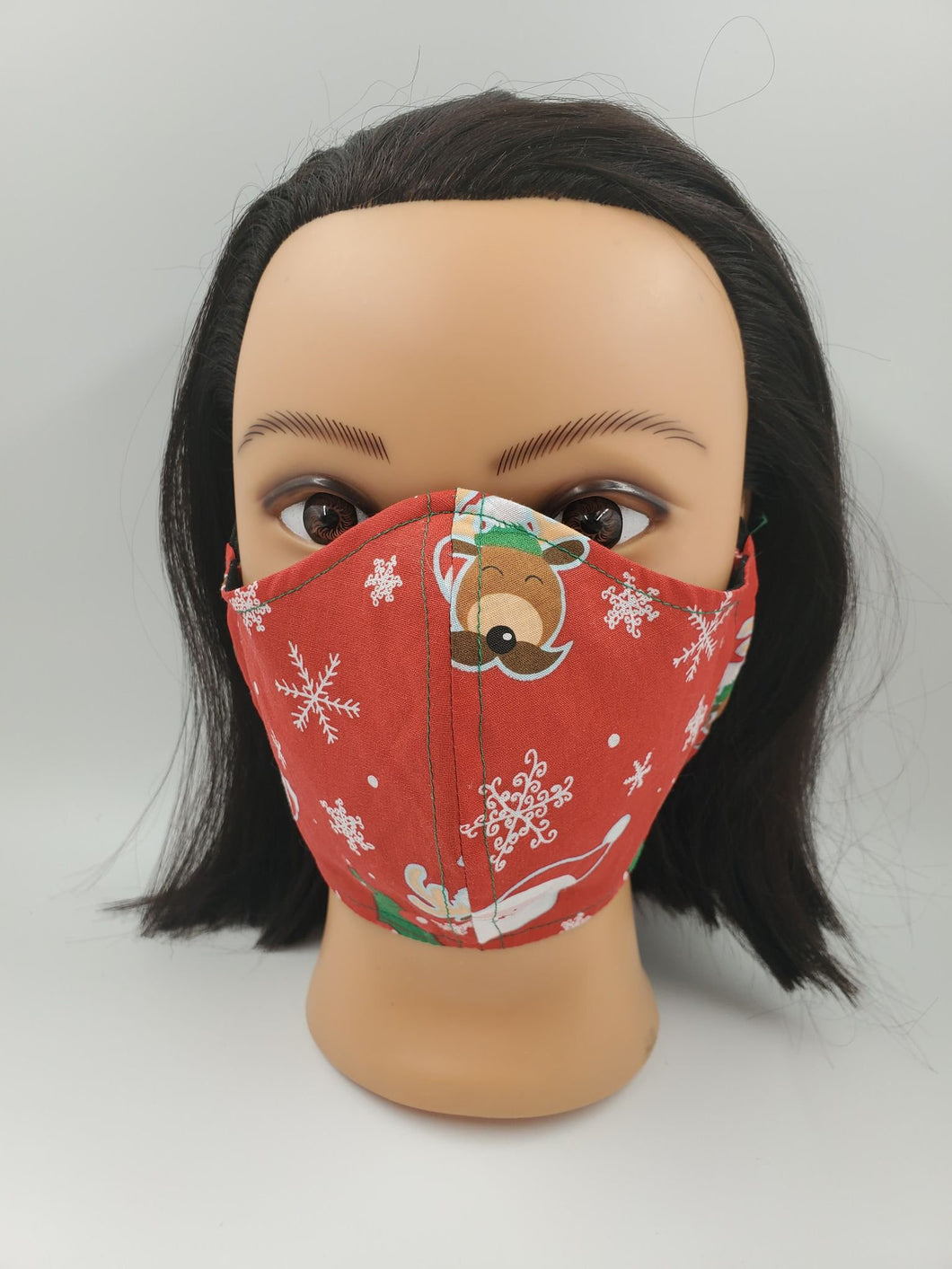 Christmas Face Mask, double layered, elastic, head ties, filter pocket