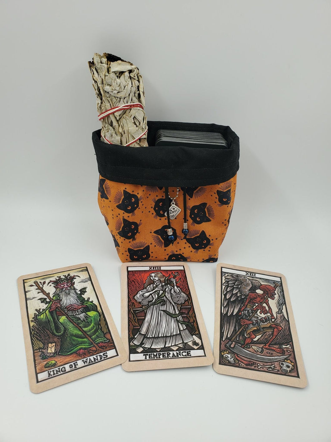 Cat Tarot Card Cinch Bag, Oracle Deck Purse, Druid Spell Card Sack, Dungeons and Dragons Ravenloft Dice or Tarokka Pouch, Gift for Goblin
