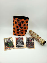 Load image into Gallery viewer, Cat Tarot Card Cinch Bag, Oracle Deck Purse, Druid Spell Card Sack, Dungeons and Dragons Ravenloft Dice or Tarokka Pouch, Gift for Goblin