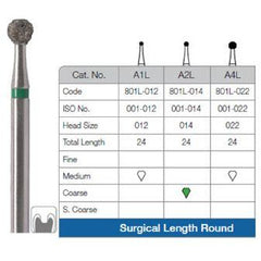 Long round bur (Medium 012) 6 pieces per pack A1LM