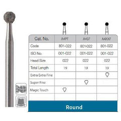 Round diamond bur  (super fine 022)  6 pieces per pack