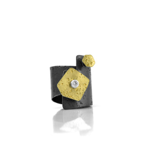 gold, oxidized silver and diamond Diversity collection ring by Maria Blondet