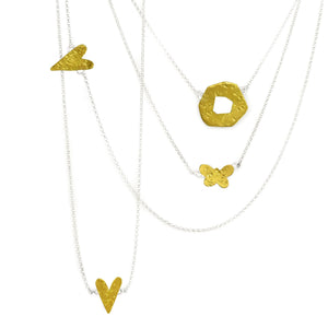 mini heart, butterfly and ripple gold and silver necklace composition, Minis Collection by maria blondet