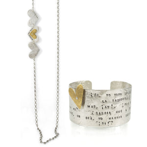 Letters from the Heart long necklace and heart band cuff by maria blondet
