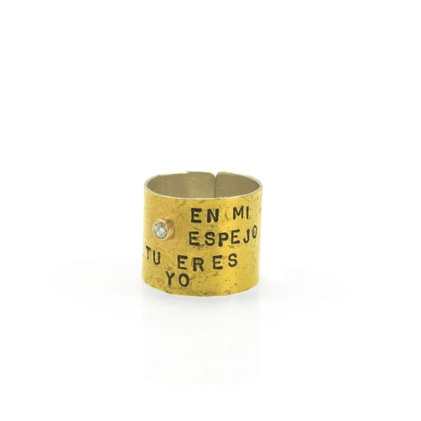 Golden Promise Ring with diamond and text