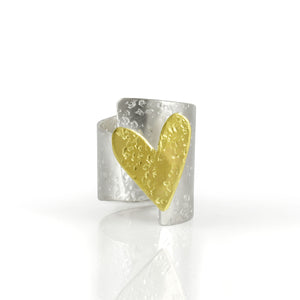 Overlapped Heart Ring