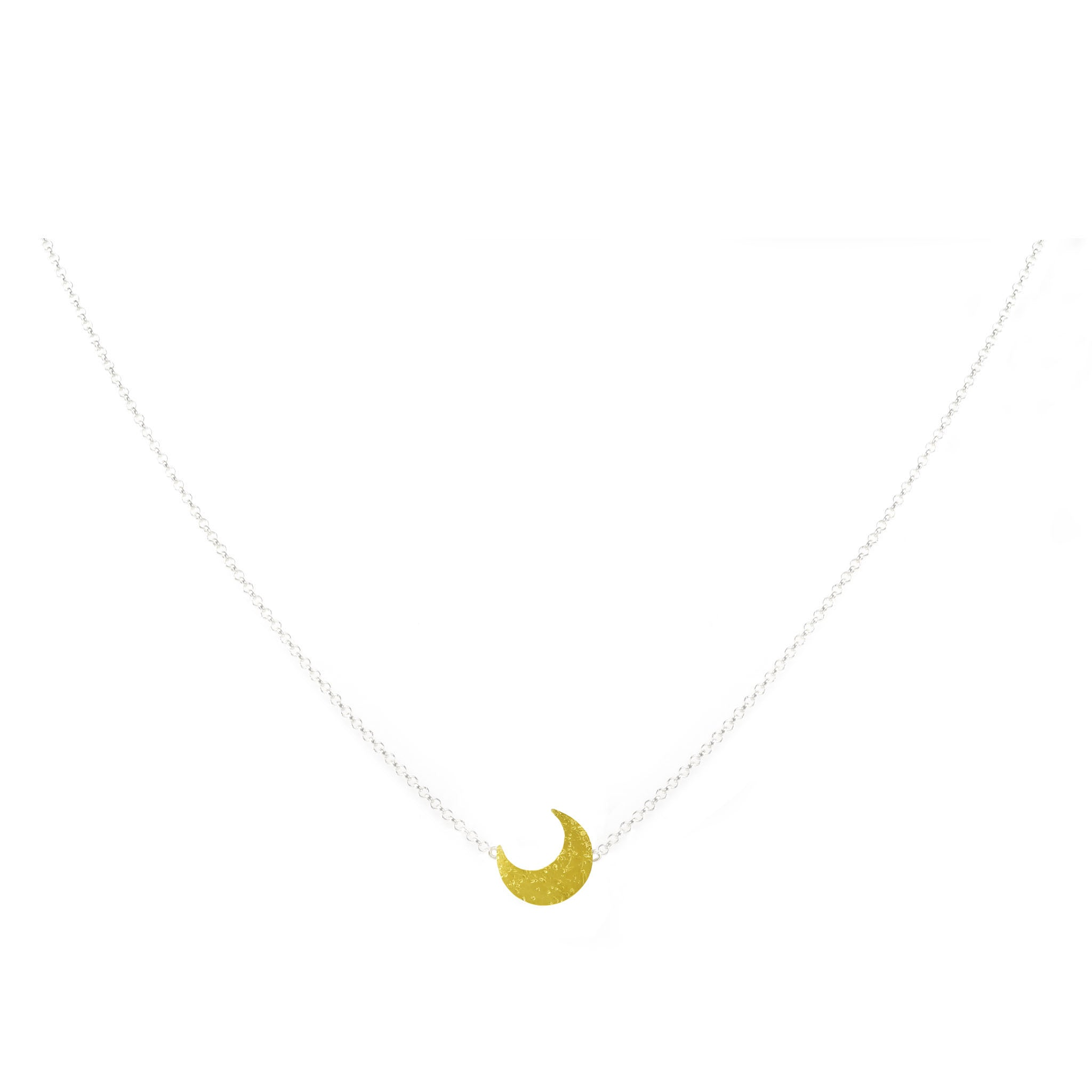 Mini Moon: 22K Gold and Silver Mini Necklace