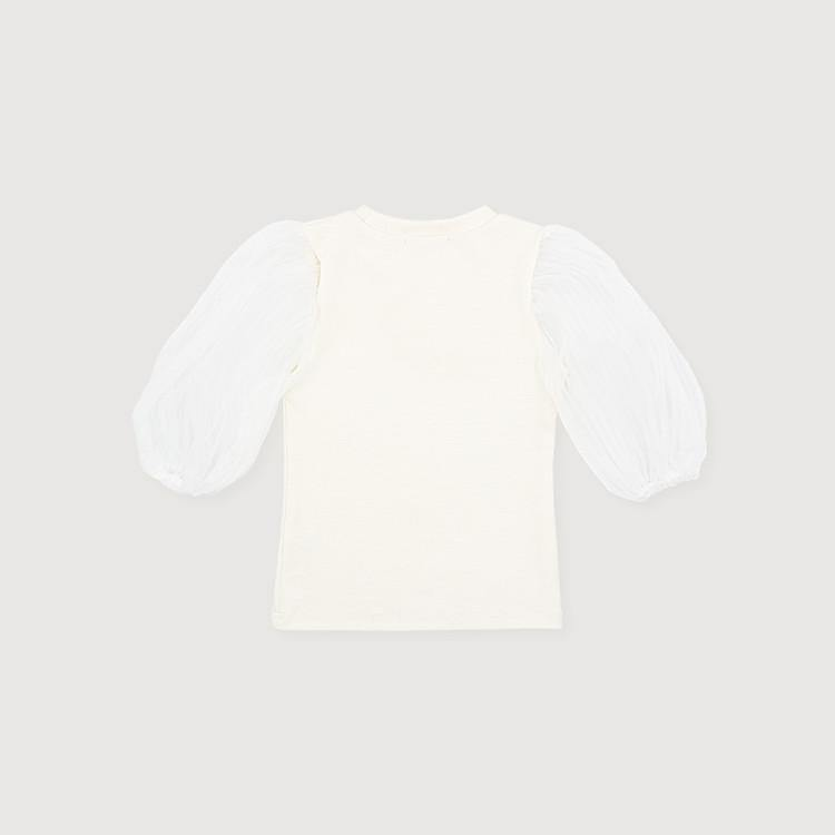 ORGANZA PLEATS SLEEVE T-SHIRT - Claudine USA