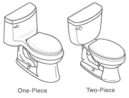 diagram of a 1 Piece and 2 Piece Toilet