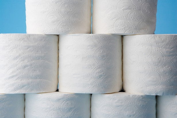 wall of toilet paper rolls