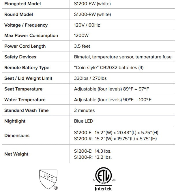 Swash 1200 Specifications