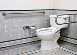 Toilet with safety rails