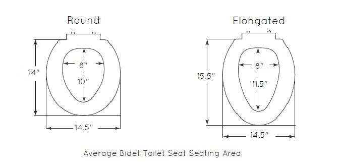 Diagram of a round, and elongated bidet's seating area dimensions