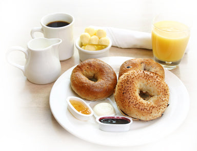 bagels with a glass of orange juice