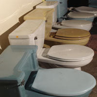 verity of different toilet colors