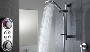 Digital shower with controls to the left