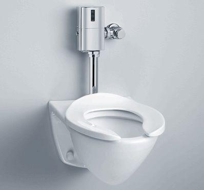 commercial toilet with a flushometer