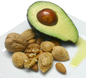 avocado, nuts, and olive oil