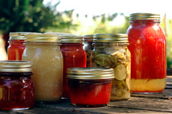 assorted jars with fruits for preservation