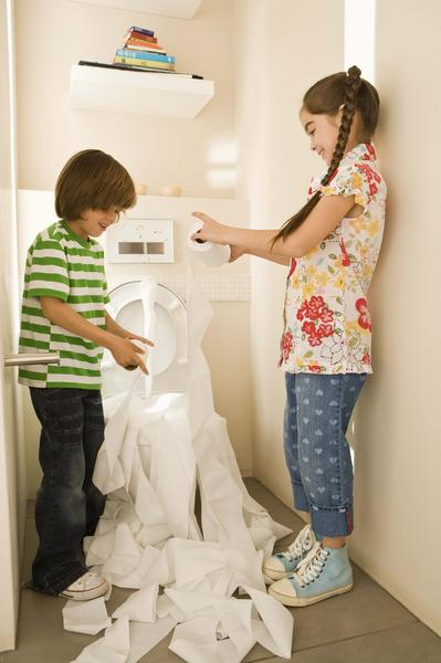 Children unrolled entire roll of toilet paper