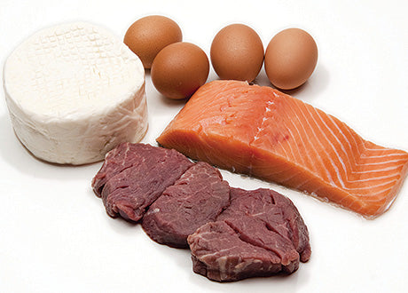 raw meat, fish, cheese, and eggs