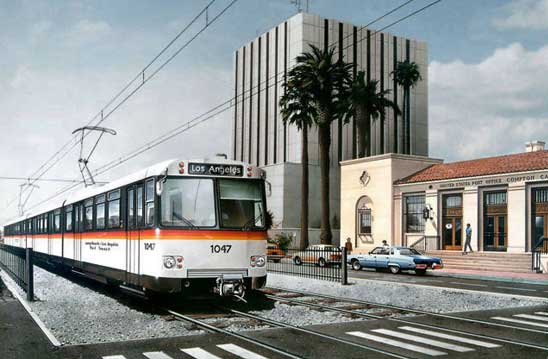 Los Angeles buildings with train passing infront