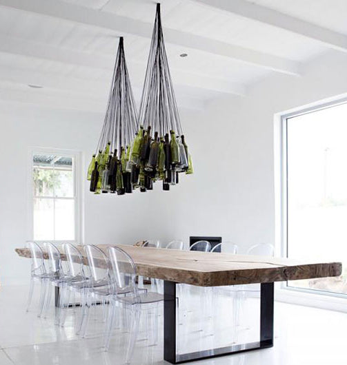creative chandelier made from recycled glass bottles